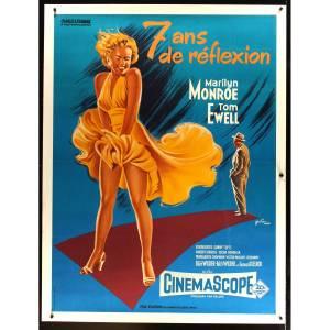 7-ans-de-reflexion-affiche-de-film-entoilee-120x160-r1970-marilyn-monroe-billy-wilder